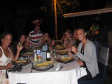 Clients of all three chalets enjoying dinner together