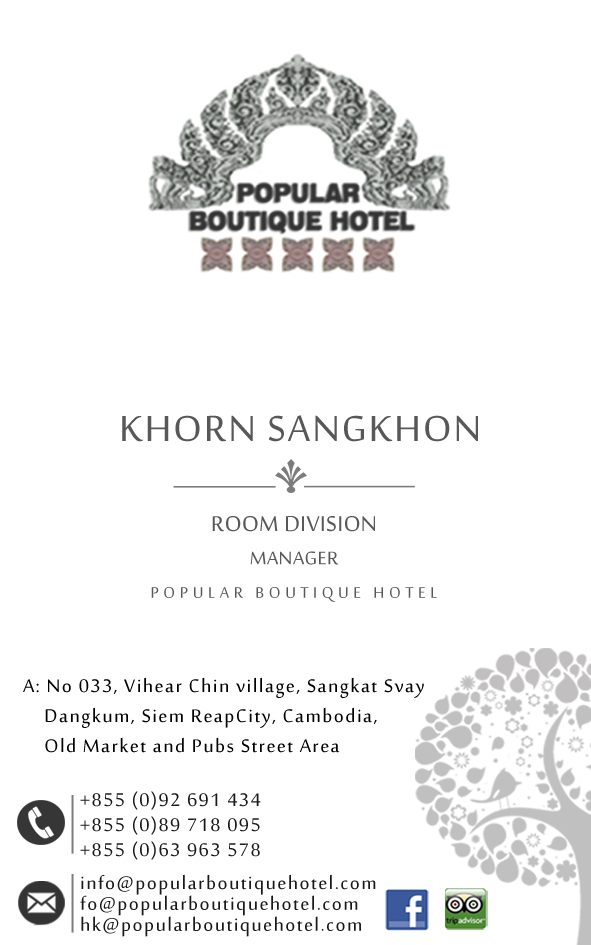 Mr. Saingkhon Room Division Manager of Popular Boutique Hotel