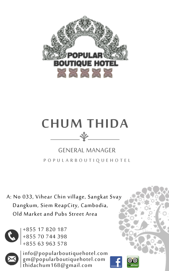 Mrs. Thida CHUM General Manager of Popular Boutique Hotel