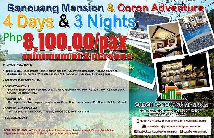 Coron Bancuang Mansion 4D/3N Package