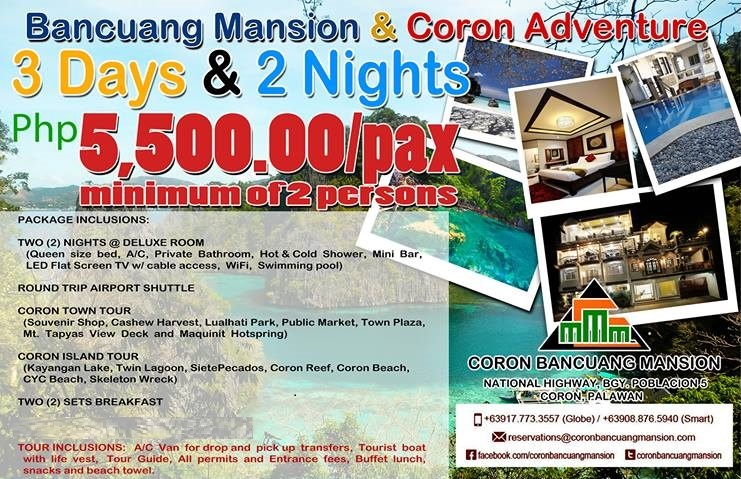 Coron Bancuang Mansion 3D/2N Package