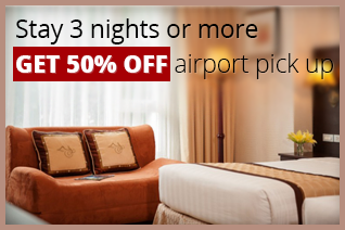 Stay 2 nights or more get 50% off airport pick up