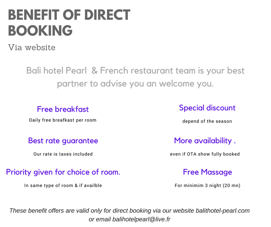 Advantage to book direct at Pearl hotel