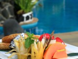 Tropical Breakfast by the Pool | Amoa Resort | Savaii, Samoa