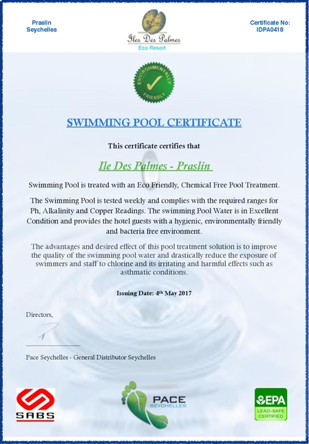 Swimming Pool Certificate