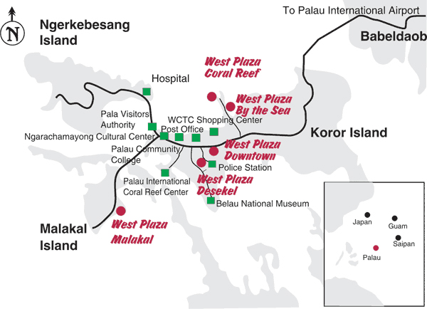 Map - West Plaza Hotels - Palau