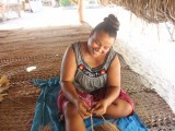 Making Strings from Coconut Fiber - Santa Faustina Homestay - Kiribati