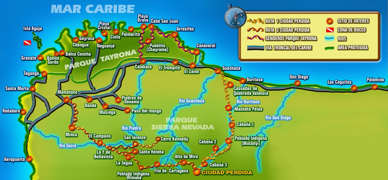 Santa Marta Colombia Mapa.Tayrona National Park Santa Marta Colombia