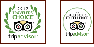 TripAdvisor Travelers' Choice 2017 and Certificate of Excellence 2016 awards