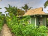 side walk to small fale (back garden)