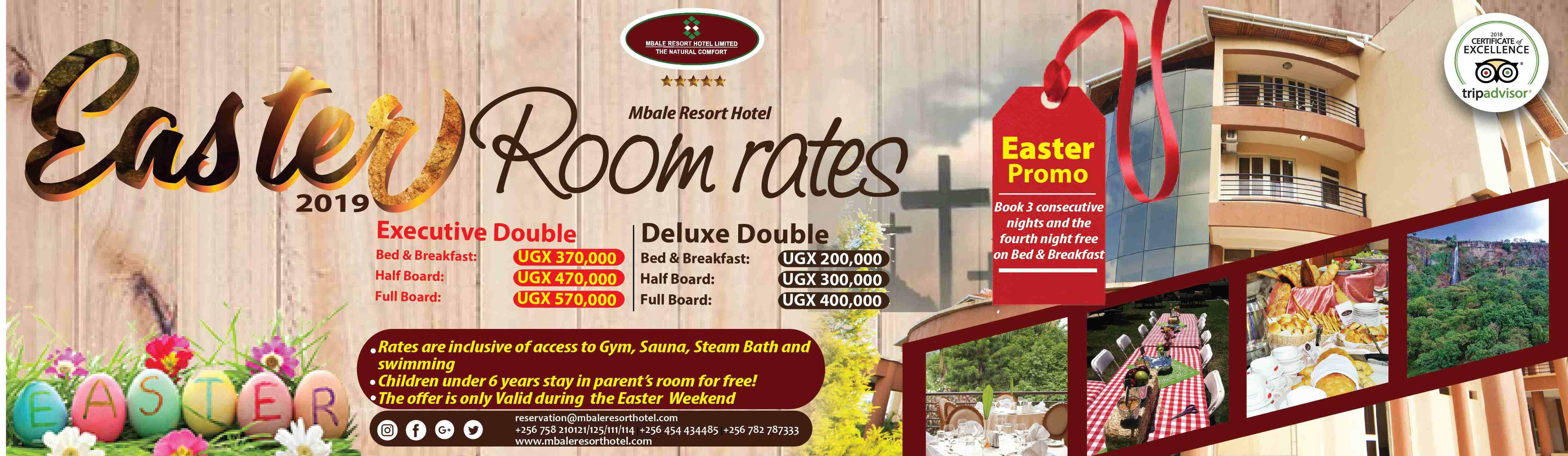Easter offers at Mbale Resort Hotel