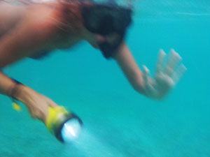 Snorkeling with a torch.