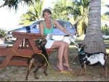 Guest Feeding Pet Goats - Popoara Ocean Breeze Villas